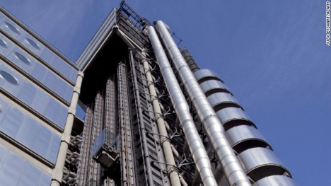 Modern day exterior elevator at Lloyds in London.