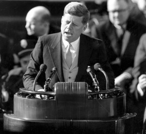President John F. Kennedy delivers his inaugural speech