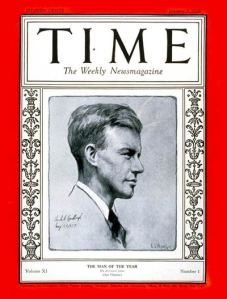 Charles Lindbergh Time Magazine's first Man of the Year in 1927