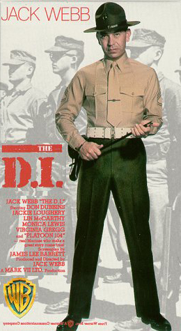 "Jack Webb, the Marine drill instructor starring in the 1957 movie ""The D.I"".brandishes a swagger stick."