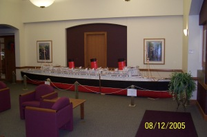 Toothpick model of the Queen Mary on display in a Chicago museum.