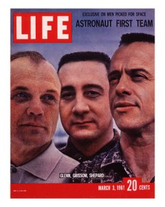 Astronaut Gus Grissom (center) flanked by Glenn (left) and Alan Shepard (right)