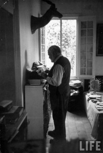 Ernest Hemingway at his standup desk