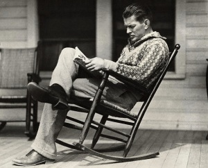 Gebe Tunney, Heavyweight Boxing Champion from 1926-1928 reading in 1927.