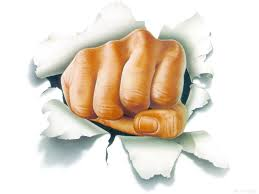 writing fist through paper