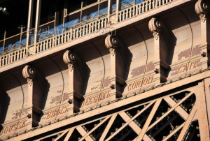 Leaders names inscribed on Eiffel Tower in Paris